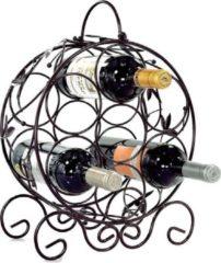 Bruine Staand Rond Wijnrek van Metaal met Wijn Bladeren - Flessenrek voor 7 wijnflessen - Stapelbaar Wijnrek voor wijn flessen - Wijnrekje - Metalen Wijnrekken - Afm. 31.5 x 15.5 x 35.5 Cm - Decopatent®