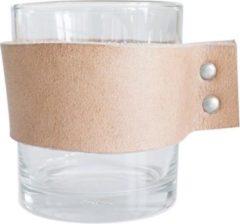 TAK Design Drinkglas Wrap Me - Incl. Lederen Band - Glas - Ø8 x 9 cm - Bruin