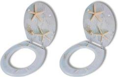 VidaXL Toiletbril met hard-closedeksel 2 st MDF zeester