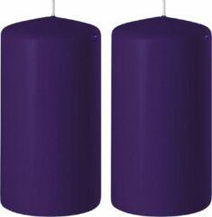 Groene Enlightening Candles 2x Paarse cilinderkaarsen/stompkaarsen 6 x 10 cm 36 branduren - Geurloze kaarsen paars - Woondecoraties