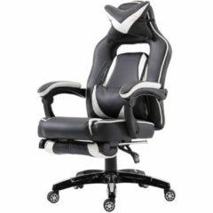 Vinsetto Bürostuhl Drehstuhl mit Fußstütze Sportsitz Kunstleder Weiß Bürosessel Massagesessel Sportsitz Bürostuhl