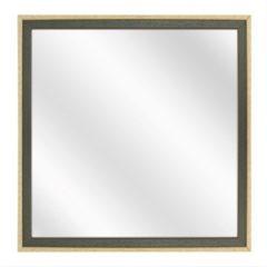 Merkloos / Sans marque Spiegel met Tweekleurige Houten Lijst - Groen / Blank - 40x40 cm