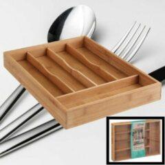 Decopatent® Bamboe Bestekbak 5 Vaks - Besteklade Organizer - Bestek Opbergen - Opbergbak - Bestekcassette - Hout - 25x34x4.3 Cm