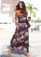 Zwarte LASCANA maxi-jurk in colourblocking-stijl