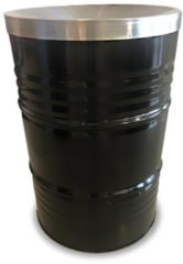BinBin Prullenbak Zwart 200 Liter olievat met vlamwerend deksel