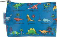 Blauwe Dino's dinosaurussen kinder toilettasje 18 x 14 cm - Tyrrell Katz