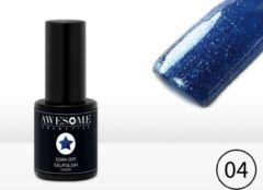 Awesome #04 Blauw met fijne glitter Gelpolish - Gellak - Gel nagellak - UV & LED