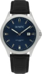 Olympic OL72HSL056 Baltimore Horloge Leer Zwart 40mm Heren