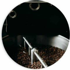 Grijze KuijsFotoprint Forex Wandcirkel - Koffiebonenmachine - 90x90cm Foto op Wandcirkel (met ophangsysteem)