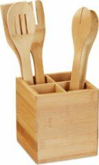 Naturelkleurige Relaxdays bestekhouder bamboe - keukengerei houder 4 vakken - bestekbak - pennenbak hout