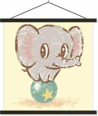 TextilePosters Een illustratie van een babyolifant in het circus schoolplaat platte latten zwart 40x40 cm - Foto print op textielposter (wanddecoratie woonkamer/slaapkamer)