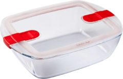 Pyrex Cook & Heat Voedselcontainer Rechthoek - Inclusief Deksel - Borosilicaatglas - 28x20 cm - Transparant
