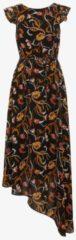 TOM TAILOR TOM TAILOR Damen Naomi Campbell: Asymmetrisches Chiffon-Kleid mit floralem Muster, Damen, black, Größe: 34, schwarz, gemustert, Gr.34