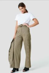 Groene NA-KD Classic Gathered Waist Dog-tooth Pants - Green