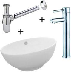 Witte Tegeldepot Waskomset Budget complete set met kraan, waskom en sifon