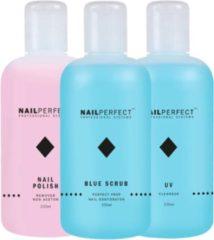 NAILPERFECT Nagel vloeistoffen Set - UV Cleanser - Remover - Blue Scrub - 750ml