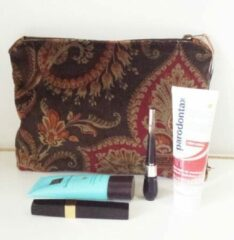 Beige Toetie & Zo Handgemaakte Toilettas Velvet 1, Beautycase, Makeuptas, Bloemen