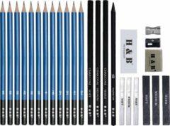 Zwarte H&B® Professionele 26-Delige Schetspotloden Set & Accessoires – Tekenen met Houtskool & Grafiet – De belangrijkste schetspotloden voor de beste schetsen