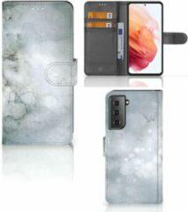 Grijze Flip case Samsung Galaxy S21 Smartphone Hoesje Painting Grey