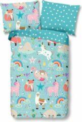 Blauwe Kinder Dekbedovertrek Leuke Kinder Katoen Dekbedovertrek Eenpersoons Rainbow | 140x200/220 | Fijn Geweven | Zacht En Huidvriendelijk