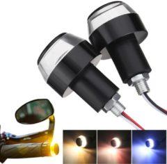 Meco 12V Dual Color Hanle Bar Grip End LED Indicator Turn Signal Lights Amber/Red/Blue+White