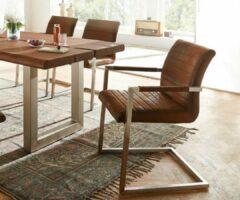 DELIFE Keukenstoel Earnest bruin vintage frame sledestoel van roestvrij staal