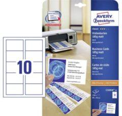 Avery-Zweckform C32010-25 Bedrukbare visitekaarten 85 x 54 mm Wit 250 stuk(s) Papierformaat: DIN A4