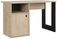 Naturelkleurige Gamillo Furniture Bureau Duplex 120 cm breed in naturel kastanje met zwart