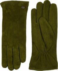 Laimböck Suède handschoenen dames met drie opnaden model Boretto Color: Olive, Size: 8.5
