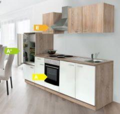 Respekta kitchen economy Respekta Küchenzeile KB270ESWOES 270 cm Weiß-Eiche Sägerau Nachbildung