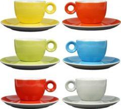 Rode Koffiekopjes - 150ml - Mosterdman - 6 kopjes met schotel regenboog