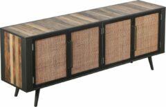 Bruine Hioshop NordicRattan TV-meubel met 4 deuren, naturel.