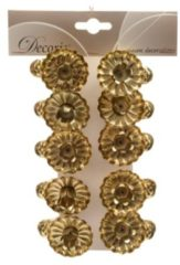 Massamarkt Everlands kunstkerstboomkaarsjeshouders met knijper 5x3.5cm goud 10 stuks