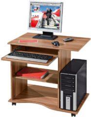 Links Link&acutes Schreibtisch >Adda< mit Tastaturauszug in walnussfarben