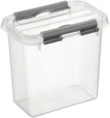 Sunware Q line box met deksel 1.1 liter transparant/metaal