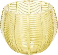Clayre & Eef Glazen Theelichthouder 6GL2437 Ø 9*8 cm - Geel Glas Waxinelichthouder Windlichthouder