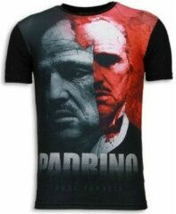 Local Fanatic El Padrino - Digital Rhinestone T-shirt - Zwart El Padrino - Digital Rhinestone T-shirt - Zwart Heren T-shirt Maat XL