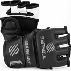Sanabul Sports Sanabul Essential MMA Grappling Handschoenen - 4 oz - zwart, zilver - maat L/XL
