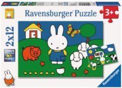 Ravensburger puzzel nijntje bij de dieren - Twee puzzels - 12 stukjes - kinderpuzzel