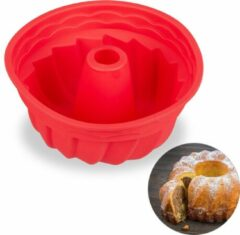 Rode Relaxdays tulbandvorm - siliconen - tulband bakvorm - cakevorm marmercake - 23 cm