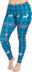 Donkergroene ZUMPREMA Foute kerst legging - Blauw Groen - roze