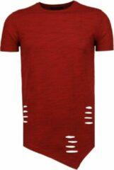 Tony Backer Sleeve Ripped - T-Shirt - Rood Sleeve Ribbel - T-Shirt - Navy Heren T-shirt Maat L