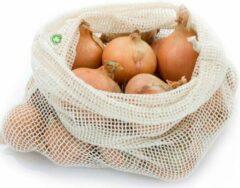 Creme witte Natuurlijkerleven Fruit & Groente Netje 100% Katoen - Large (Bio)
