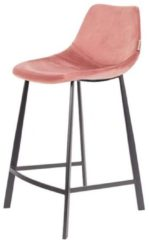 Roze Dutchbone Franky Velvet Counter barkruk (set van 2)