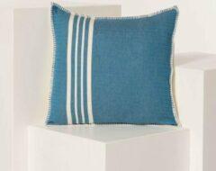 Blauwe Lalay Kussenhoes 50x50 Krem Sultan Blue Petrol- vierkant - sierkussen - katoen