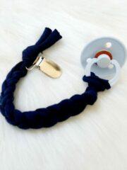 Lichtblauwe BIBS Baby blue T2 - Happy-by-Lies Speenkoord gevlochten Marine