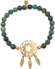 Groene CO88 Collection 8CB-80028 - Rekarmband met staal element - natuursteen Afrikaans turquoise 6 mm - dromenvanger bedel - one-size - groen / goudkleurig