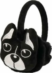 Merkloos / Sans marque Pluche oorwarmers zwart hond voor meisjes - Warme winter oorwarmers voor meisjes
