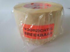 """Merkloos / Sans marque Sticker met """"Voorzichtig Breekbaar"""" erop - Formaat: 49 x 23 mm - Materiaal: rood radiant"""