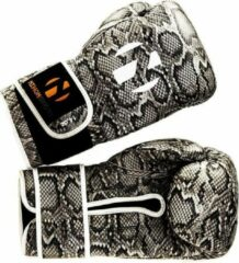 Zwarte Bokshandschoenen Snake Nihon | slangenprint & wit | 14 oz